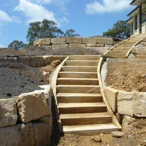 hard landscaping sandstone steps and retaining walls