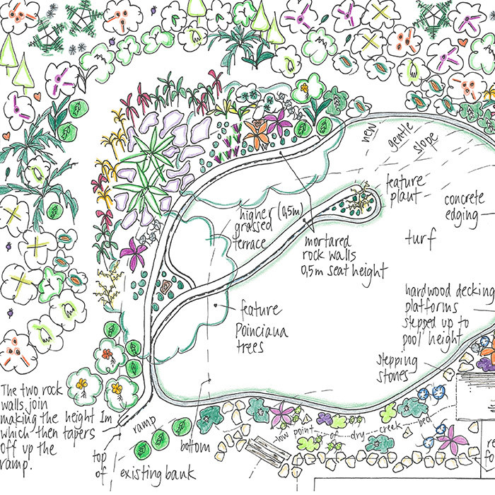 garden design detailed drawing including plant positioning