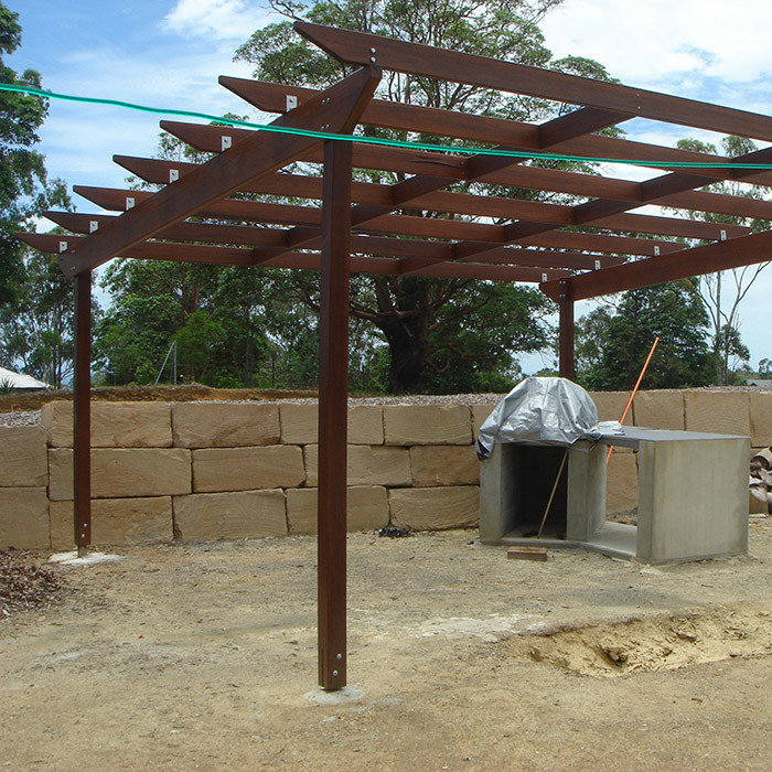 gazebo frame and retaining wall construction