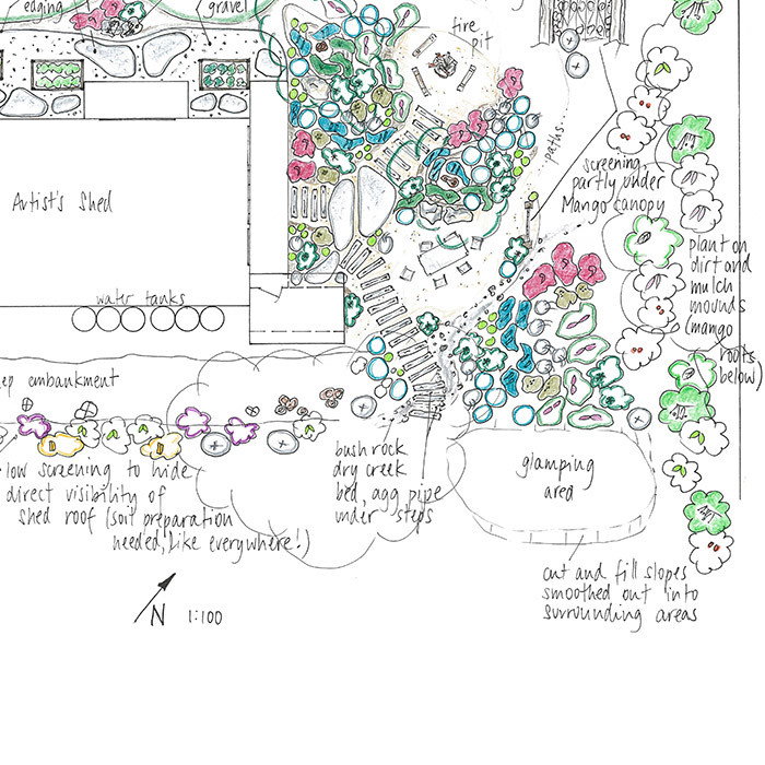 sleeper path dry creek garden design drawing